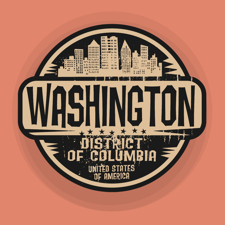 district of columbia: Stamp or label with name of Washington, District of Columbia, vector illustration
