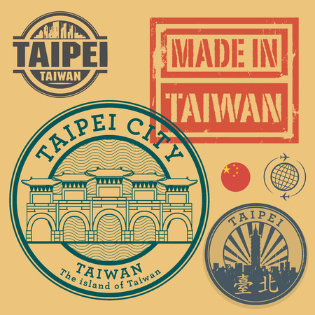 Stamp or label set with text Taipei, Taiwan (in chinese language too), inside, vector illustration