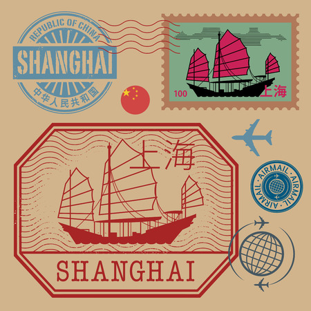 postal stamp: Travel stamps set with the text Shanghai (in chinese language too), vector illustration Illustration