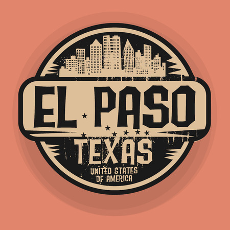 Stamp or label with name of El Paso, Texas, vector illustration Vector