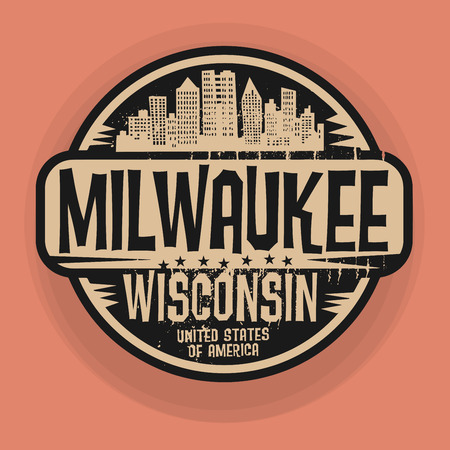 milwaukee: Stamp or label with name of Milwaukee, Wisconsin, vector illustration Illustration
