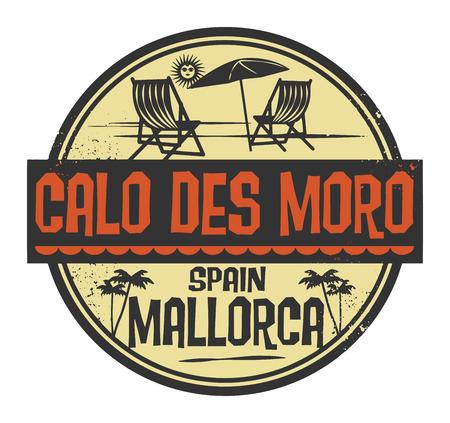 Pieczęć ze słowami Calo des Moro, Mallorca pisemnej wewnątrz, ilustracji wektorowych