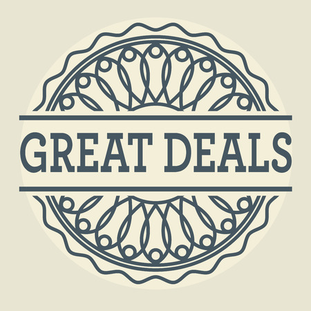 dealings: Abstract stamp or label with text Great Deals, vector illustration Illustration