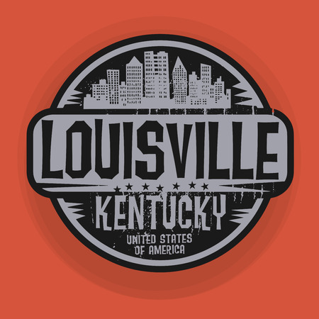 kentucky: Stamp or label with name of Louisville, Kentucky, vector illustration