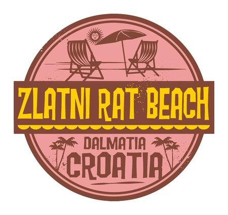 Stamp with words Zlatni Rat Beach, Croatia written inside, vector illustration