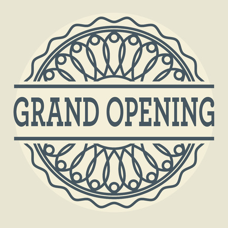 Abstract stamp or label with text Grand Opening, vector illustration Illustration
