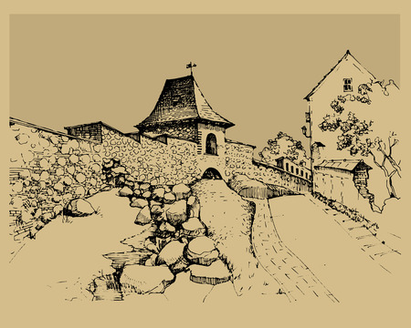 town houses capital: Architecture of old town, hand drawn sketch, vector illustration