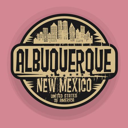 albuquerque: Stamp or label with name of Albuquerque, New Mexico, vector illustration