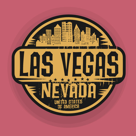 vegas sign: Stamp or label with name of Las Vegas, Nevada, vector illustration Illustration