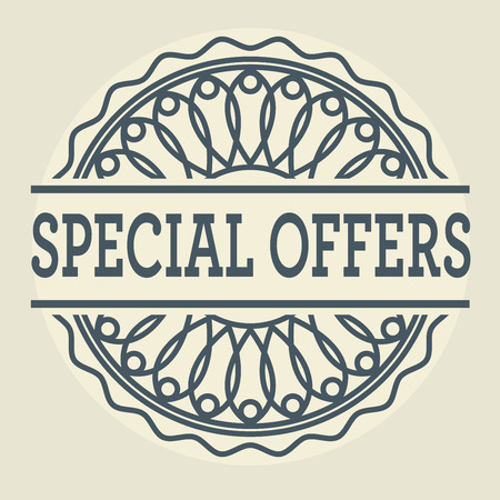especial: Abstract stamp or label with text Special Offers, vector illustration