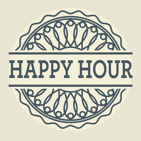 happy hour: Abstract stamp or label with text Happy Hour, vector illustration