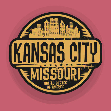 city icon: Stamp or label with name of Kansas City, Missouri