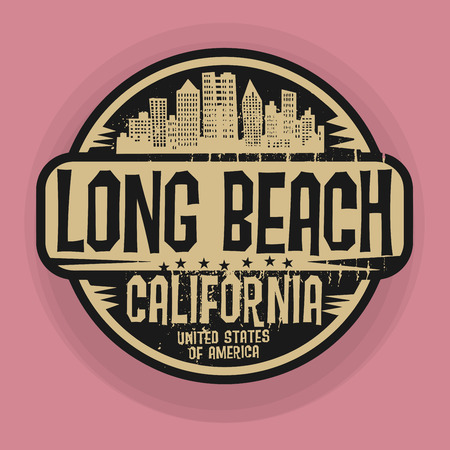 rubber: Stamp or label with name of Long Beach, California, vector illustration