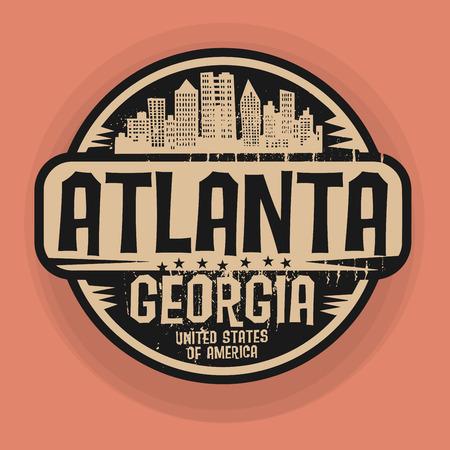 Stamp or label with name of Atlanta, Georgia