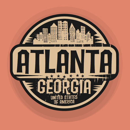 Stamp or label with name of Atlanta, Georgia