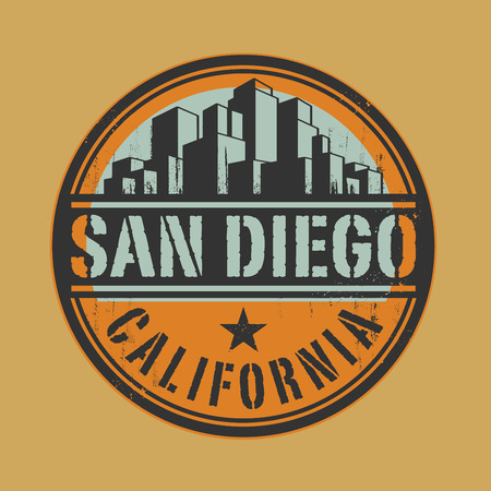 san diego: Stamp or label with name of San Diego, California Illustration