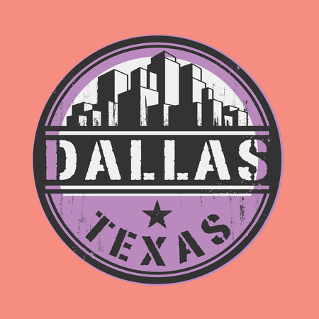 dallas: Stamp or label with name of Dallas, Texas Illustration