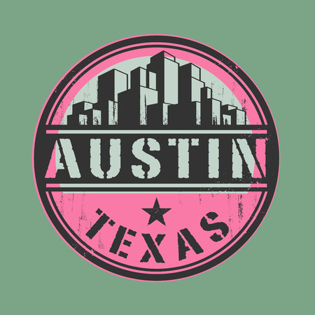 austin: Stamp or label with name of Austin, Texas Illustration