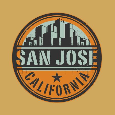 san: Stamp or label with name of San Jose, California Illustration