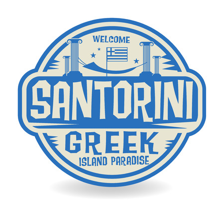 island paradise: Stamp or label with the name of Santorini, Greek Island Paradise, vector illustration
