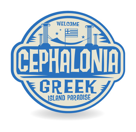 island paradise: Stamp or label with the name of Cephalonia, Greek Island Paradise, vector illustration
