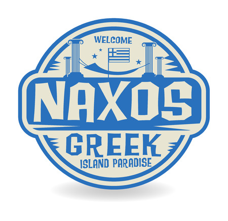 island paradise: Stamp or label with the name of Naxos, Greek Island Paradise, vector illustration