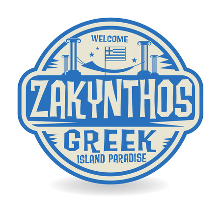 Stamp or label with the name of Zakynthos, Greek Island Paradise, vector illustration Illustration