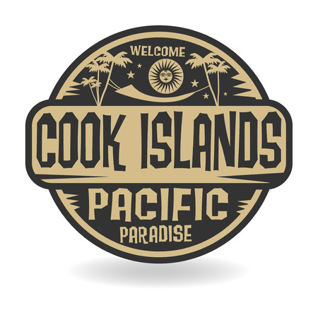 pacific: Stamp or label with the name of Cook Islands, Pacific Paradise vector illustration