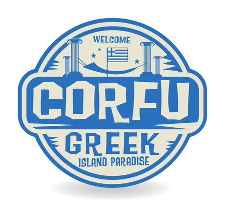 island paradise: Stamp or label with the name of Corfu, Greek Island Paradise, vector illustration