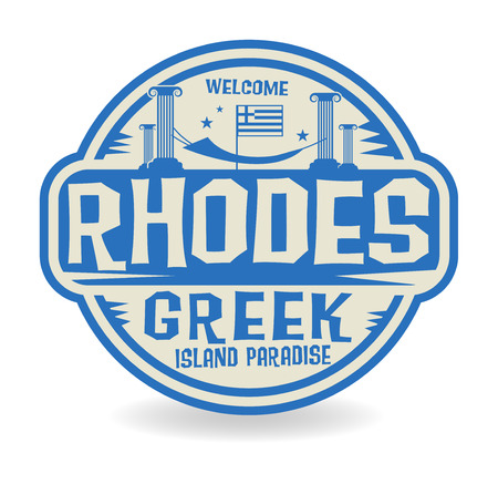made in greece stamp: Stamp or label with the name of Rhodes, Greek Island Paradise, vector illustration
