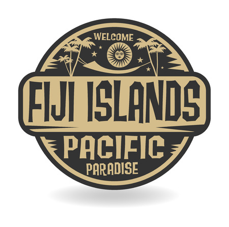 fiji: Stamp or label with the name of Fiji Islands, Pacific Paradise vector illustration Stock Illustratie
