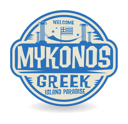 made in greece stamp: Stamp or label with the name of Mykonos, Greek Island Paradise, vector illustration Illustration