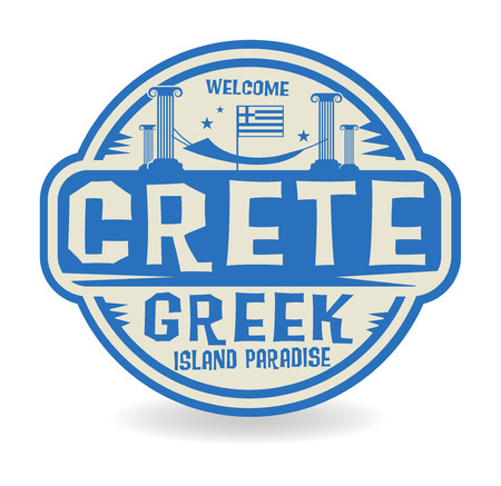 island paradise: Stamp or label with the name of Crete, Greek Island Paradise, vector illustration
