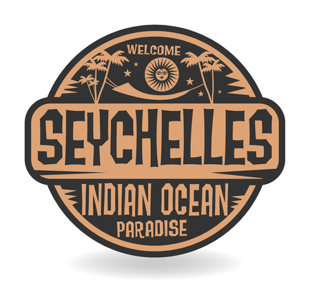 seychelles: Stamp or label with the name of Seychelles, Indian Ocean, vector illustration
