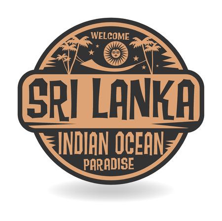 sri: Stamp or label with the name of Sri Lanka, Indian Ocean, vector illustration Illustration