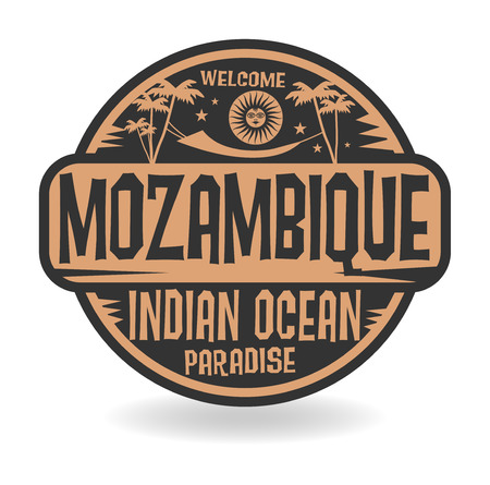 indian postal stamp: Stamp or label with the name of Mozambique, Indian Ocean, vector illustration Illustration
