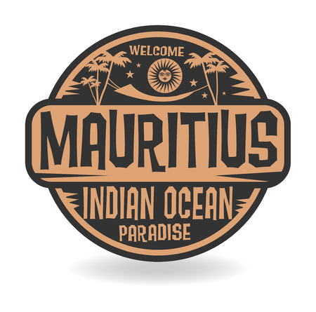 mauritius: Stamp or label with the name of Mauritius, Indian Ocean, vector illustration