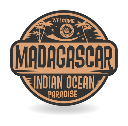 Stamp or label with the name of Madagascar, Indian Ocean, vector illustration