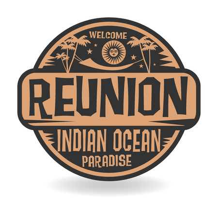 Stamp or label with the name of Reunion, Indian Ocean, vector illustration Illustration