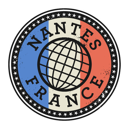 france stamp: Grunge rubber stamp with the text Nantes, France, vector illustration