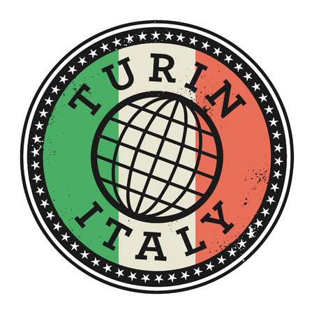 turin: Grunge rubber stamp with the text Turin, Italy, vector illustration