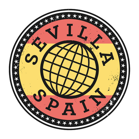 identifier: Grunge rubber stamp with the text Sevilla, Spain, vector illustration