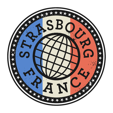 identifier: Grunge rubber stamp with the text Strasbourg, France, vector illustration