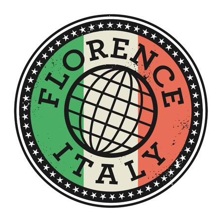 florence italy: Grunge timbro di gomma con il testo di Firenze, l'Italia, illustrazione vettoriale Vettoriali