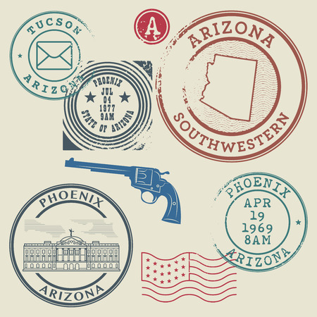 postage stamps: Retro postage stamps set, vector illustration