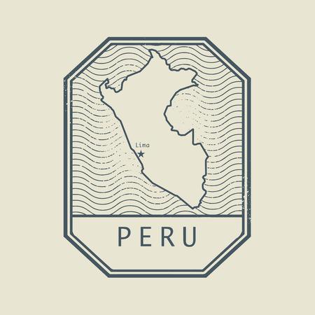 mapa del peru: Sello con el nombre y el mapa del Perú, ilustración vectorial