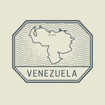 mapa de venezuela: Sello con el nombre y el mapa de Venezuela, ilustración vectorial
