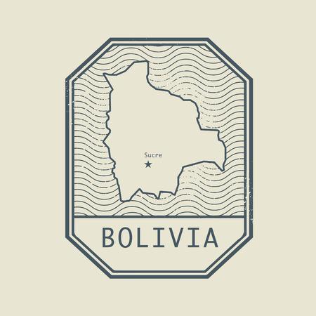 mapa de bolivia: Sello con el nombre y el mapa de Bolivia, ilustración vectorial Vectores