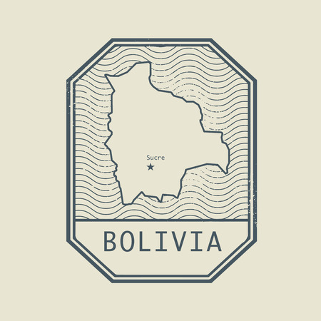 Stamp with the name and map of Bolivia, vector illustration Illustration