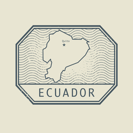 identifier: Stamp with the name and map of Ecuador, vector illustration Illustration